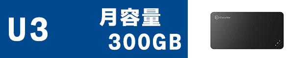 レンタルポケットwifiU3月容量300GB